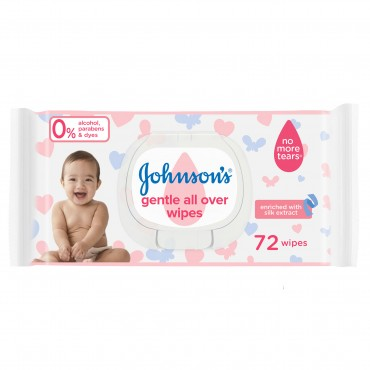 Johnsons Baby Gentle All Over Wipes 72 Pcs