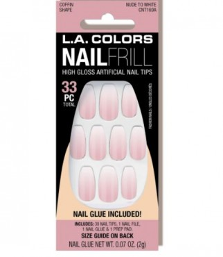 LA Colors Nail Frill Neon Artificial Nail Tip - Nude To White