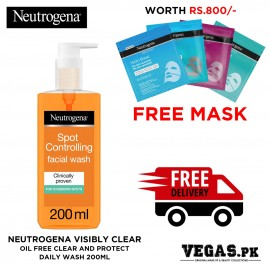Neutrogena Visibly Clear Oil Free Clear And Protect Daily Wash 200ML