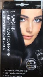 Nu-Pore Wash in Grey Hair Coverage Permanent Hair Color Black