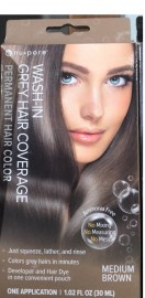 Nu-Pore Wash in Grey Hair Coverage Permanent Hair Color Medium Brown