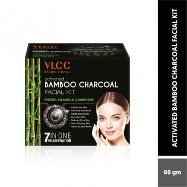 VLCC Activated Bamboo Charcoal Facial Kit For Purified-Balanced & Glowing Skin (60GM)